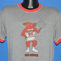 80s Arkansas Razorbacks Basketball Ringer t-shirt Large