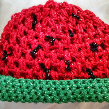 Watermelon crochet spring red and green hat