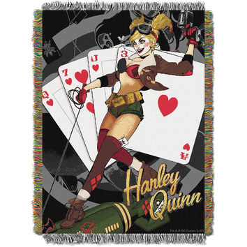 Batman (Harley Queen Clown) Woven Tapestry Throw (48inx60in)