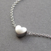 Heart necklace, tiny silver heart, sterling silver rolo chain, small dainty petite minimalist modern