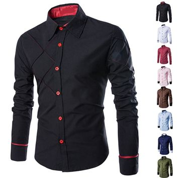 Men Casual Business Buttoned Formal Long Sleeve Grid Slim Fit Stylish Luxury Shirt Top Navy Burgun For Male