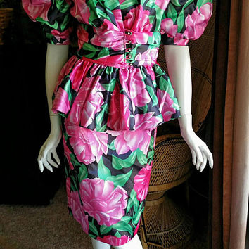 AS IS 80's Evenings by Pantagis Puffed Sleeve Suit Set, Skirt Suit, Peplum Jacket, Pencil Skirt, Pink Flowers, Pink Floral Pencil Skirt, SM
