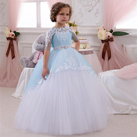 Cute Baby Ball Gown Blue And White Girl's Pageant Dresses With Half Sleeve Vestidos De Primera Communion Flower Girl Dresses