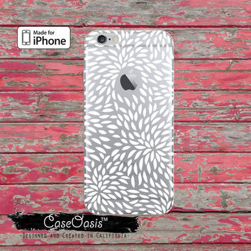 White Floral Petals Pattern Cute Tumblr Flower Clear Case For iPhone 6, iPhone 6 Plus +, iPhone 6s, iPhone 6s Plus +, iPhone 5/5s, iPhone 5c