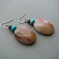 Big Bead Earrings, Red Quartz with Copper, Large Oval Gemstone Drop Earrings, Bold Jewelry