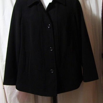 Winter Coat, Short Black, Soft Like Cashmere, Classic Button Front, Plus Size, Size 1X