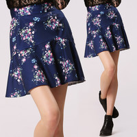 Summer Floral Print High Waist Casual Short Skirt
