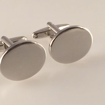 Engravable Cufflinks, Rhodium Plate Cufflinks, Oval Cufflinks, Men's Cuff Links, Wedding Cufflinks, Father's Day, Graduation Gift