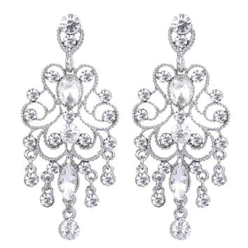 BELLA Fashion Vintage Style Chandelier Dangle Earrings Austrian Crystal Bridal Earrings Wedding Accessories For Lover Gift