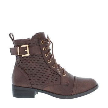 Laser Cut Buckled Combat Boot (BROWN)
