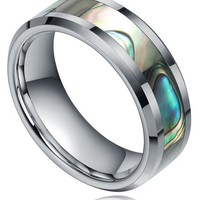 Fast Shipment! 6MM/8MM Titanium Abalone Shell Inlay Engagement Wedding Band Rings Size 4-12