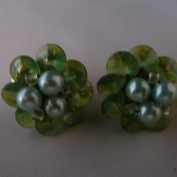 Vintage Green Japan Earrings Pearl and Plastic Bead Clusters Costume Jewelry St Patricks Spring Summer