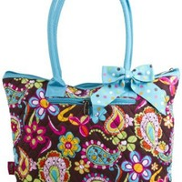 Quilted Colorful Paisley with Blue Trim Tote Bag with Coin Purse
