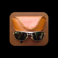 brown leather sunglasses hard case large