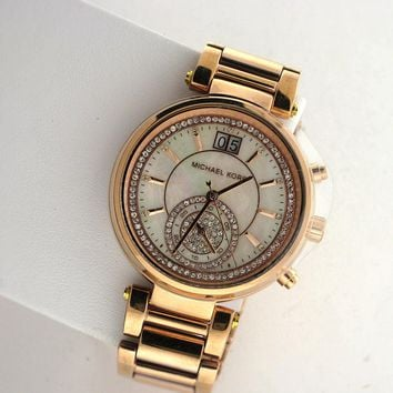 Michael Kors Chronograph MK6282 Sawyer Rose Date Stainless Steel Link Watch