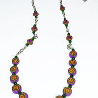 Candy-like Beaded Necklace – Violet, Green, and Orange Beads – Handmade of Polymer Clay - Selsal
