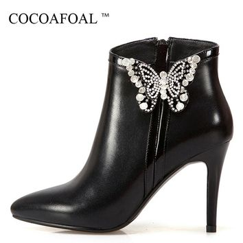 COCOAFOAL Women's Genuine Leather High Heele Chelsea Boots Winter Plus Size Butterfly Apricot Ankle Boots Red Woman Shoes 2018