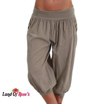 Plus Size Pants Half Short Capris  Elastic Vintage Trousers