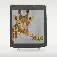 Hello Shower Curtain by ArtLovePassion