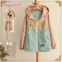 2018 Spring New Women Jacket Loose Pocket Zipper Cartoon Print Hooded Two Side Wear Casual Jacket Coat Female Outerwear