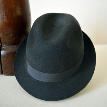 Gray Wool Felt Trilby - Narrow Brim Pure Merino Wool Felt Handmade Trilby Fedora Hat - Men Women