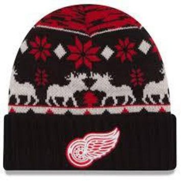 ONETOW NHL Detroit Red Wings Team Mooser Knit Hat