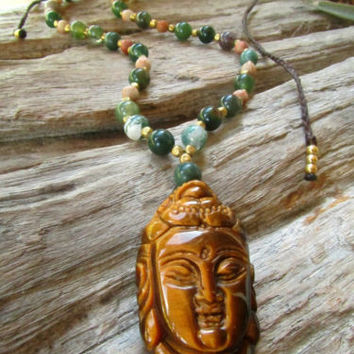 Tigers Eye Stone Buddha Necklace Indian Agate Beads Long Short Boho Hippie | eBay