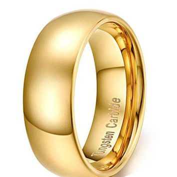 8mm Tungsten Carbide Ring Simple Style Gold Plated Engagement Promise Band