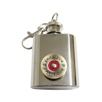 Brass Toned Shotgun Shell 1 Oz. Stainless Steel Key Chain Flask