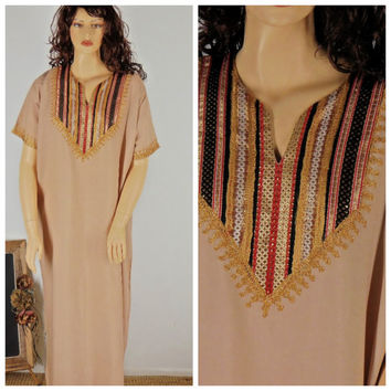 Sze L / XXL Kaftan tunic dress, maxi caftan dress, bohemian silk kaftan dress, free size