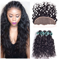 Wet And Wavy Brazilian Virgin Hair Bundles With Frontal Closure