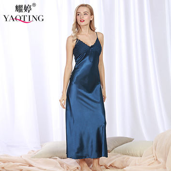 2017 New Brand Robes Set Women Long Nightgown Night Dress Silk Satin Sexy Nightwear Lace Nightdress Bathrobe Night Gown CQ311