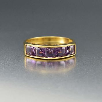 Outstanding 14K Gold Half Eternity Amethyst Band Ring