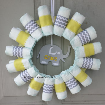Chevron Baby Diaper Wreath-Yellow and Gray