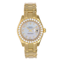 Rolex Lady's Yellow Gold and Diamond Masterpiece Pearlmaster Watch Ref 69298