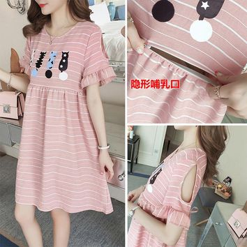 Maternity Dress Summer Cotton gravida Nursing Dresses Cute Clothes For Pregnant Women Maternidade Pregnancy Feeding Clothing