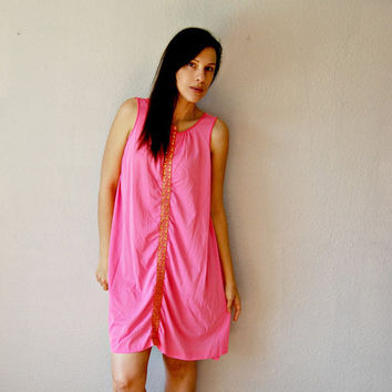 neon NIGHT dress / bubble gum pink 1950s by vintagemarmalade