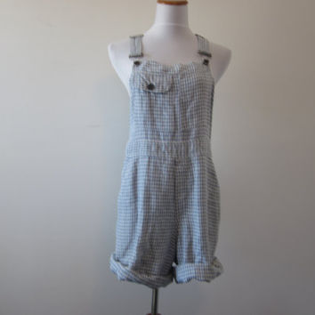 Overall Romper Shorts Upcycled Cut Off Bib Overalls Shorts Shortalls Blue and White Check Gingham Womens Medium