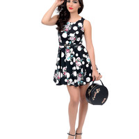 Black & White Dotted Floral Belted Fit N Flare Dress