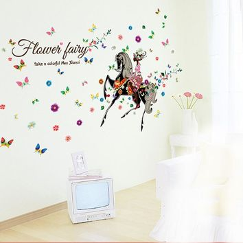 Girl Horse Flower Wall Stickers for Home Decor