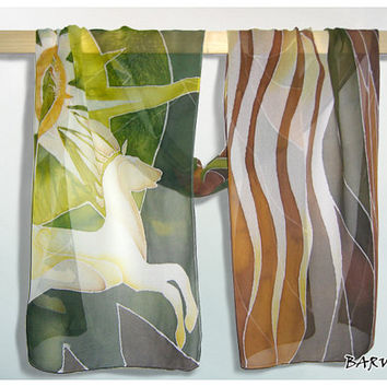 Silk Scarf Rohan Horses long Silk Scarves handmade &  hand painted LOTR - white green gold brown