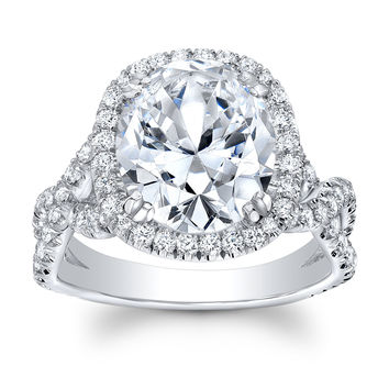 Women's 18k engagement ring with pave Round Diamonds and 5 ct Oval Brilliant Center White Sapphire
