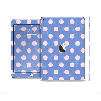 The Vintage Scratched Pink & Purple Polka Dots Skin Set for the Apple iPad Air 2