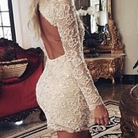 White Backless Mini Lace Dress