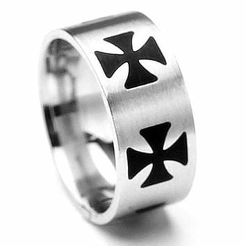 Stainless Steel Black Cross Knights Templar Ring