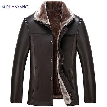 Winter Leather Jacket Men Business Casual Thicken Faux Fur Coat Collar Single Breasted Long Faux Leather Jackets