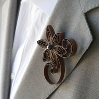 Cocoa Boutonniere, Brown Buttonhole, Chocolate Brown Wedding Boutonniere, Cocoa Wedding Boutonnieres
