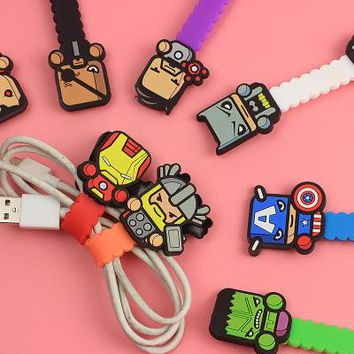 30pcs/lot Multi-function Avengers figures Cable Winder Headphone Earphone Cable Wire Organizer Cord Holder For iphone samsung