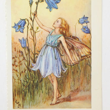 Harebell Fairy Flower Fairy, Flower Fairies Picture, Cicely Mary Barker Print, Fairy picture