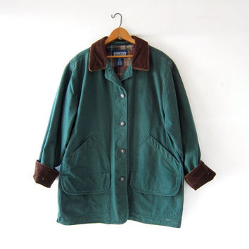 Vintage Lands End Barn Coat. Green Denim Chore Jacket. Ranch Coat. Plaid Lined Jacket.